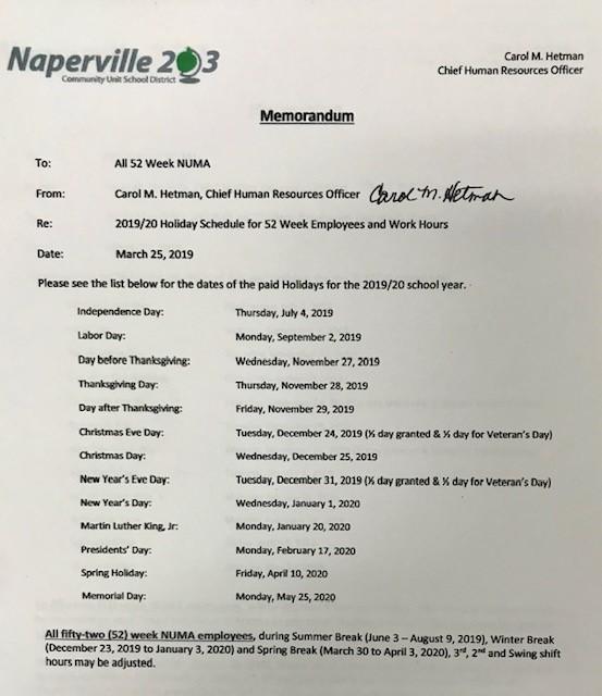 2019/2020 Holiday Schedule | Naperville Unit Maintenance